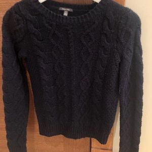 Forever 21 navy cable knit crew neck sweater